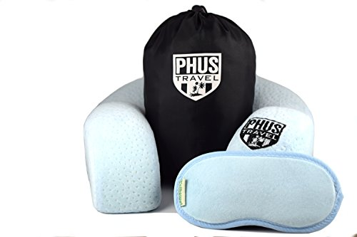 PHUS Travel Neck Pillow, 300 Gram Premium Memory Foam, 3 Piece Set, Washable Velvet Cover with MP3 Pocket, Carrying Case, U Shaped for Travelers, Comfortable Neck Support, Eyemask, Great for All Ages