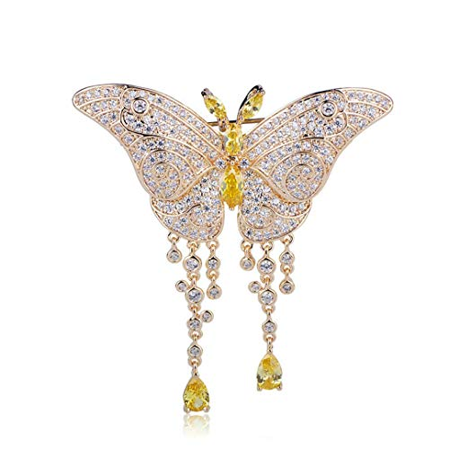 Exquisite Insect Butterfly Brooch Gold Zircons Tassel Pendant Brooches Pins For Women Wedding Dress Copper Accessories Gold Color