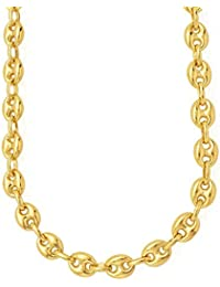 """14k REAL Yellow Gold 4.7mm Shiny Puffed SOLID Mariner Chain Necklace or Bracelet Bangle for Pendants and Charms with Lobster-Claw Clasp (6"""" 7"""" 10"""", 18"""" 20"""" or 24 inch)"""