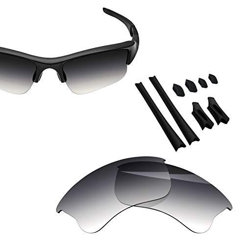 BlazerBuck Anti-salt Polarized Replacement Lenses & Sock Kit for Oakley Flak Jacket XLJ - Grey Gradient