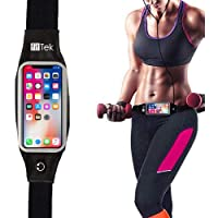 fit Tek Runner Waist Pack Running Belts, Water Resistant Fanny Pack for iPhone Xs and All Phone Models, Screen Touch Phone Holder Running Pouch for Hands Free Workout, Fitness, Travel