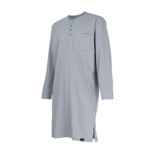 GÖTZBURG Herren Nachthemd, langarm, Baumwolle, Single Jersey, blau, gestreift