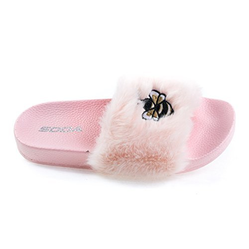 Bee2 LtPink Children's Bee Embroidered Patch, Faux Fur Slip On Slippers. Kid Shoe (Soda Kids Shoes)