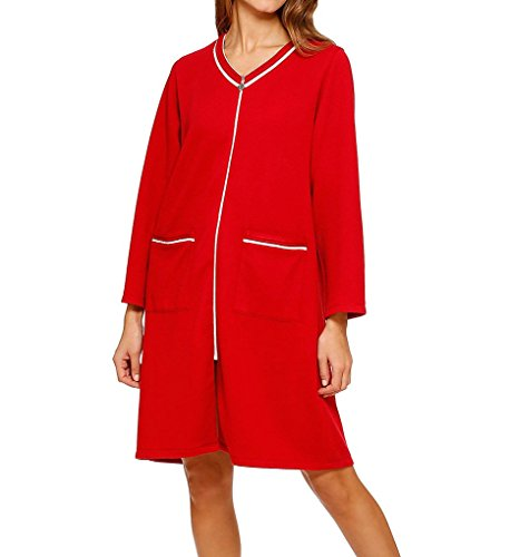 Eileen West Women's Eileen West Short Zip Front Robe, Scarlet, Small/Medium