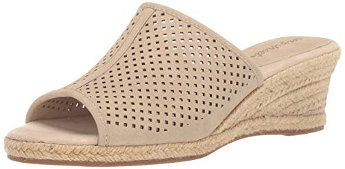 Easy Street Women's Mandy Espadrille Slide Sandal Wedge, Beige Linen, 9 M US ()