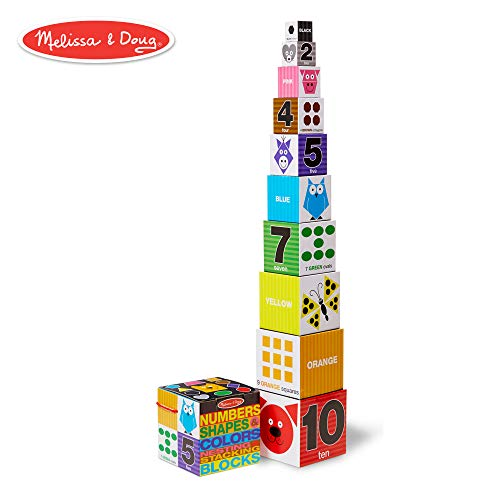 (Melissa & Doug Nesting and Stacking Blocks: Numbers, Shapes, and Colors)
