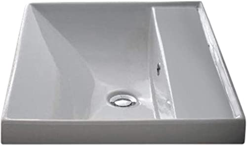 Scarabeo 3004-No Hole ML Square Ceramic Self Rimming Wall Mounted Bathroom Sink, White