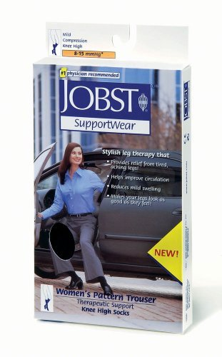 Women's 8-15 mmHg Knee High Pattern Trouser Sock Size: Small, Color: Black by Jobst