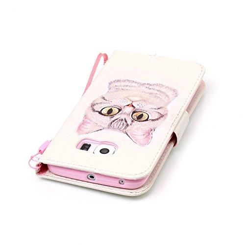 Para Smartphone Samsung Galaxy S6Edge móvil, Funda de piel para Samsung Galaxy S6Edge Flip Cover Funda Libro Con Tarjetero Función Atril magnético + Polvo Conector blanco 2 8