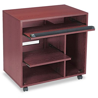 - Safco Products 1901MH Ready-to-Use Computer Workstation with 2 Pullout Shelves, Mahogany
