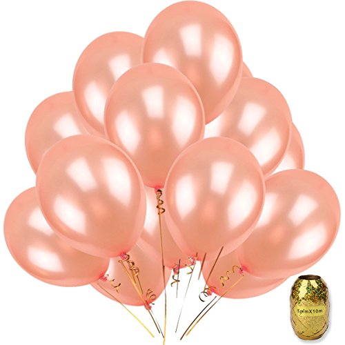 UTOPP 25 Pack Rose Gold Balloons Party Decorations, Roses 12 Clear Thick Latex Blush Gold Party Helium Balloons for Party Baby Shower Birthday Engagement Wedding Bachelorette Graduation with Tassel