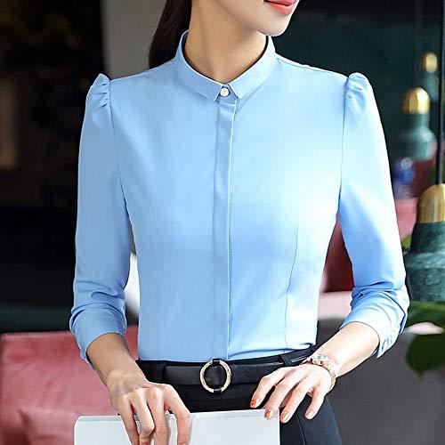 Cuello Profesional De Negocios Ol Manga Damas Oficina Larga Alto Blusa Femenina Camisas Sólida Las Delgada Ysfu Camisa Mujer Mujeres TBqzwRxt0