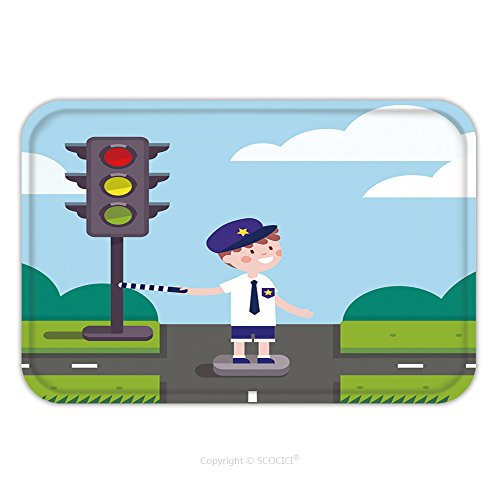 Working Traffic Light Costume (Flannel Microfiber Non-slip Rubber Backing Soft Absorbent Doormat Mat Rug Carpet Traffic Officer Cop Kid Working On Road Crossing With A Traffic Light Modern Flat Style 414367423 for Indoor/Outdoor/Ba)