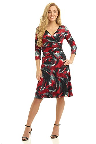 rekucci-womens-slimming-3-4-sleeve-fit-and-flare-crossover-tummy-control-dress-8brushstroke-wine