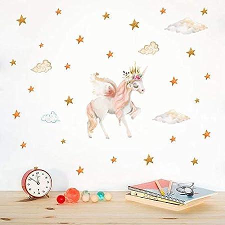 AIYANG Licorne mur autocollants /étoiles lamour coeur mur autocollants Licorne stickers muraux pour enfant b/éb/é fille chambre salle de jeux decor Orange