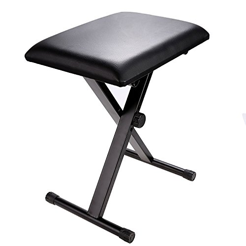 Modrine Adjustable Piano Padded Keyboard Bench,Heavy Duty Deluxe Padding Seat PianoKey board Leather Stand with Rubber Feet