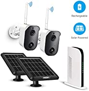 Wireless Security Camera System Solar Powered Battery Rechargeable Panel, Night Vision, Home Outdoor, 1080p, 2