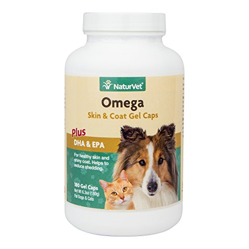 NaturVet Omega Skin and Coat Supplement Plus DHA and EPA for Dogs and Cats, Gel Caps, Made in the USA, 180 Count