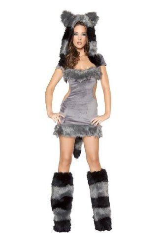 Roma Costume 1 Piece Naughty Raccoon Costume, Black/Grey,