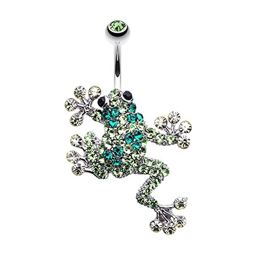 Frog Belly Dangling Ring Button - Sparkle Leaping Frog WildKlass Belly Button Ring
