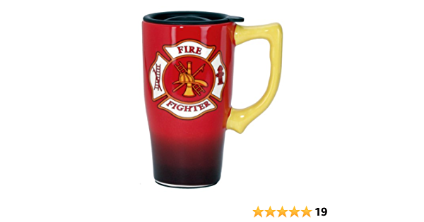 Amazon Com Spoontiques Firefighter Travel Mug 14 Ounces Red Kitchen Dining