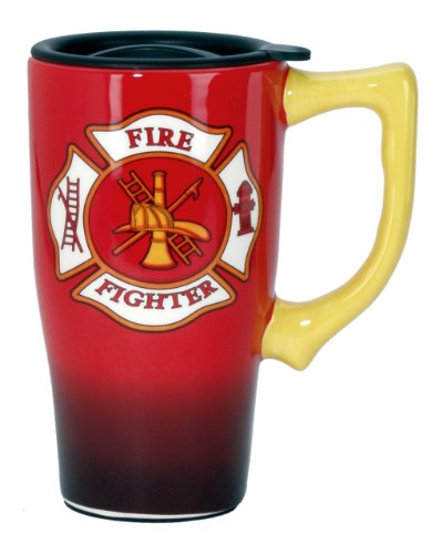 Spoontiques Firefighter Travel Mug, Red