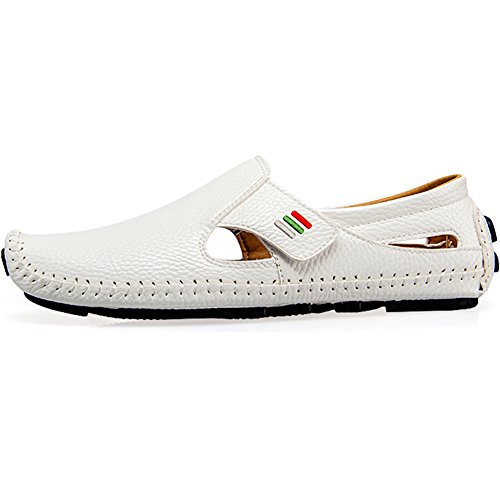 Men's Penny Loafers Driving Shoes Casual Leather Stitched Loafer Shoes(White 44)