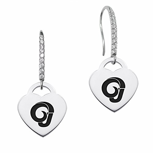 Angelo State Rams Dangle Earring with Heart Charm and Cz Accents by College Jewelry