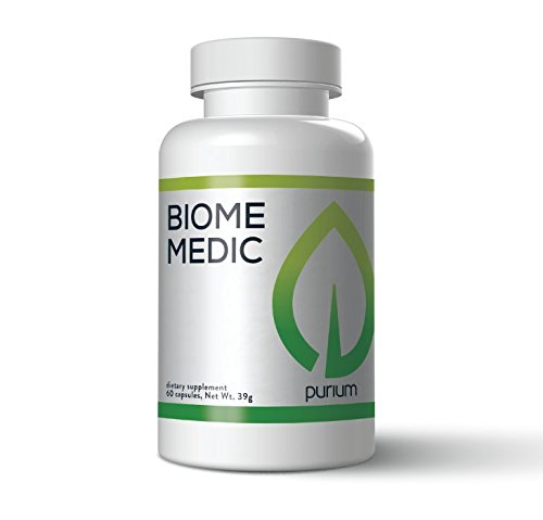Purium Biome Medic  Premium Non Gmo Gut Health Supplement  Removes Toxic Gmos From Gut  All Natural Ingredients  Helps Good Bacteria  Supports Immune Functions  30 Day Supply  60 Capsules