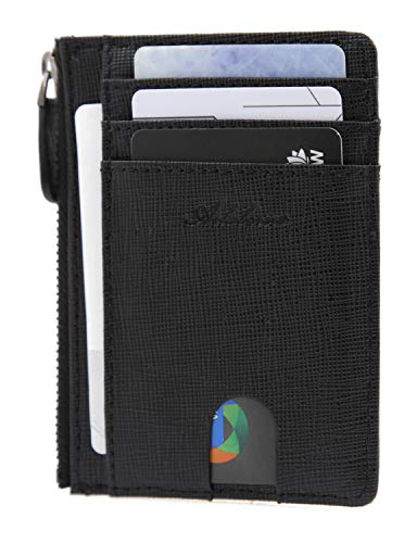 (AslabCrew Minimalist Genuine Leather Zipper RFID Blocking Front Pocket Wallet, Slim Card Wallets, Pluie-Black )