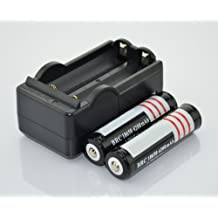 Hossen 2Pcs 3.7V 18650 4200mah Protected Rechargeable Lithium Battery with 18650 battery Charger