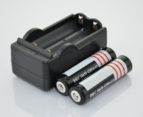 Hossen 2Pcs 3.7V 18650 4200mah Protected Rechargeable Lithium Battery with 18650 battery Charger by hossen