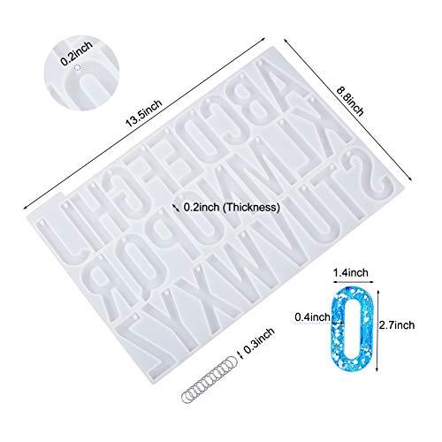 LET'S RESIN Epoxidharz Formen, Resin Silikonform Buchstaben Mit Loch für Harz-Sets, Epoxidharz Silikonform Gießform für Heimwerker-Schlüsselanhänger und Basteln