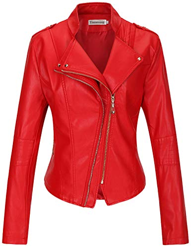 Tanming Women's Faux Leather Moto Biker Short Coat Jacket (Large, Red-16)