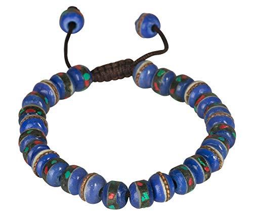 - Tribe Azure Fair Trade Tibetan Embedded Yak Bone Medicine Wrist Mala Bracelet Meditation Healing Prayer Beads (Royal Blue)