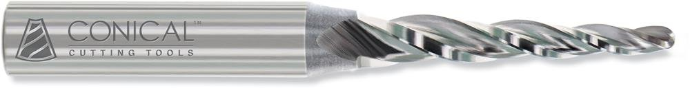 Conical Tool Company T-202-BE 20.0° HSS Tapered End Mill - 3 Flute x 1/8'' Tip x 0.4890'' Large Diameter x 3/8'' Shank x 1/2'' Length of Cut x 2 1/2'' Overall Length w/ Ball End