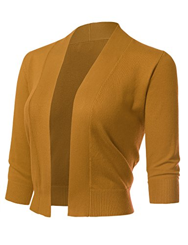 ARC Studio Women's Classic 3/4 Sleeve Open Front Cropped Cardigans (S-XL) S Mustard