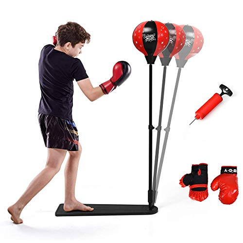 EUNSVYYA Punching Bag with Stand-Adjustable Height,Pedal Kids Boxing Speed Bag,Boxing Equipment for Training at Home…