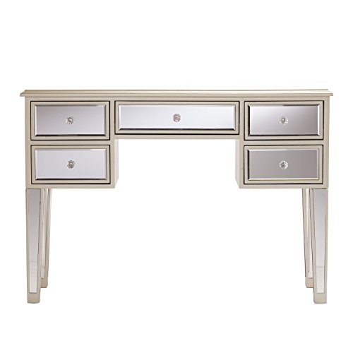 Southern Enterprises Mirage Mirrored Desk Console Table - Mirror Surface w/Silver Trim - Glam Style (Top Table Glass Buffet)