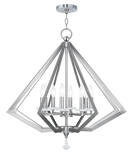 Livex Lighting 50668-91 Diamond 8-Light Chandelier, Brushed Nickel
