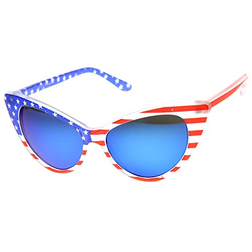 c37ec41eb15 low-cost American Flag Patriotic Stars and Stripes Flash Mirrored Super Cat  Eye Sunglasses