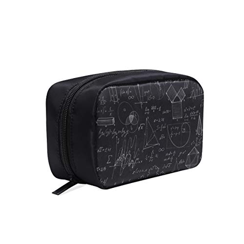 Blackboard Mathematical Graphics And Formulas Portable Travel Makeup Cosmetic Bags Organizer Multifunction Case Small Toiletry Bags For Women And Men Brushes Case