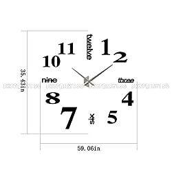 Phantomx 3D Modern DIY Large Number Mirror Wall Sticker Big Watch Home Decor Art Clock US