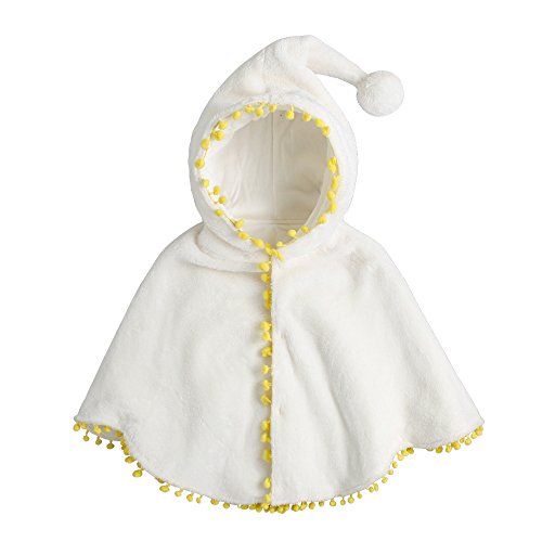 Fairy Baby Baby Girls Clothes Cloak Kids Warm Poncho Hood Cape Coat Snowsuit Winter Outfit Size 6-12M (White)