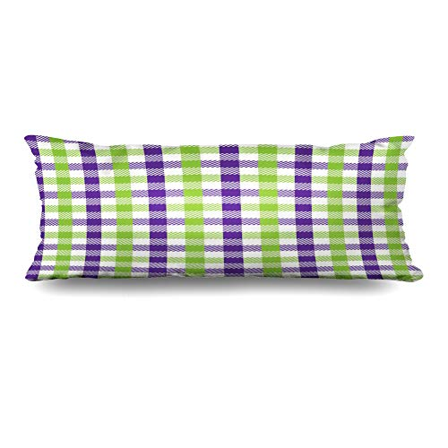 Ahawoso Body Pillows Cover 20x60 Inches Green Purple Celebration Multicolour Gingham Pattern Lime Unusual Abstract Check Checkered Chevron Decorative Zippered Pillow Case Home Decor Pillowcase ()