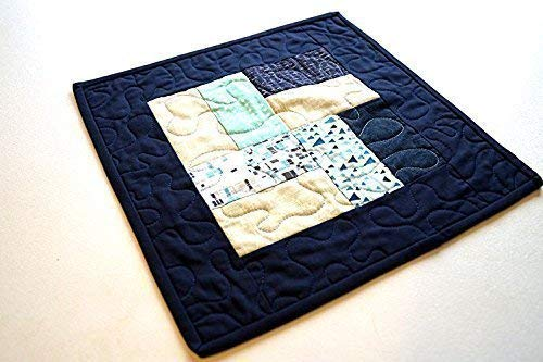 Blue Quilted Table Topper or Wall Hanging in Modern Patchwork