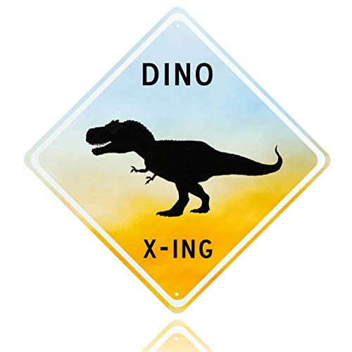 - Dinosaur room decor - Decorative Aluminum blue Dinosaur Crossing Street Sign. Fun Bedroom art for little Boys room. Put the poster away & fill his room with Fun tin wall art dino x-ing signs!