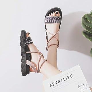 Shukun Sandales Chaussures Romaines Sandales Chaussures Plates pour Femmes Épaisse en Bas Chaussures de Plage Mode féminine Pantoufles antidérapantes Bord de la mer