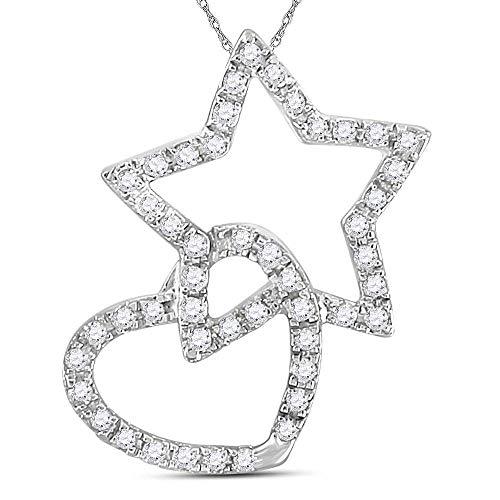 Jawa Jewelers 14kt White Gold Womens Round Diamond Linked Star Heart Pendant 1/8 Cttw