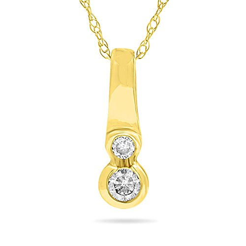 14k Yellow Gold Journey Two Stone Diamond Pendant, Bithstone of April, 18